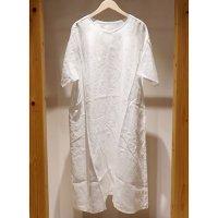 【AUGUSTE PRESENTATION Pajama Look(パジャマルック)】半袖リネンVネックワンピース/WHITE